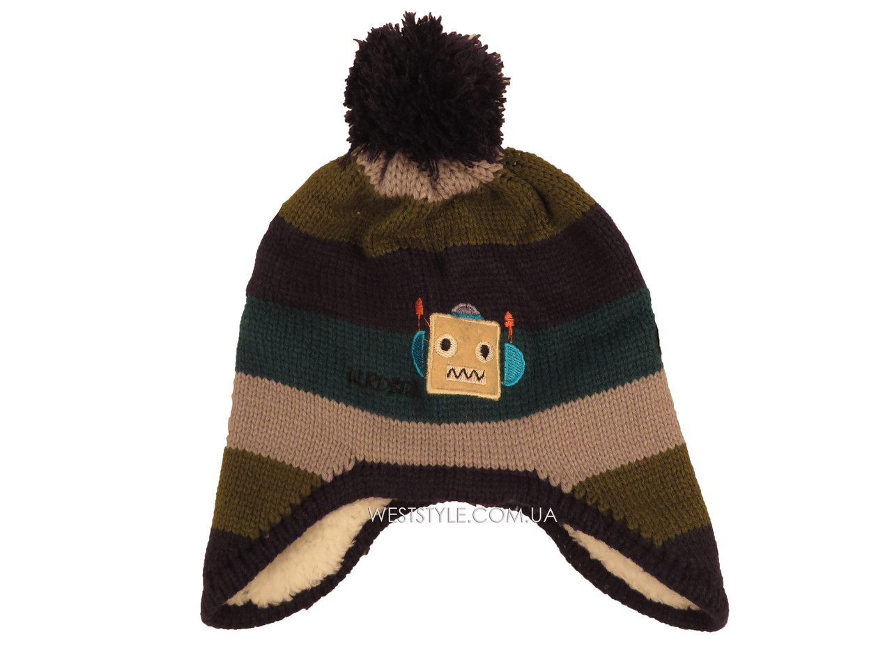 Детская вязаная шапка с темно-синим помпоном