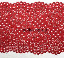 Стрейчевое кружево,цвета красный,ширина 15см(1 упаковка 23метра)