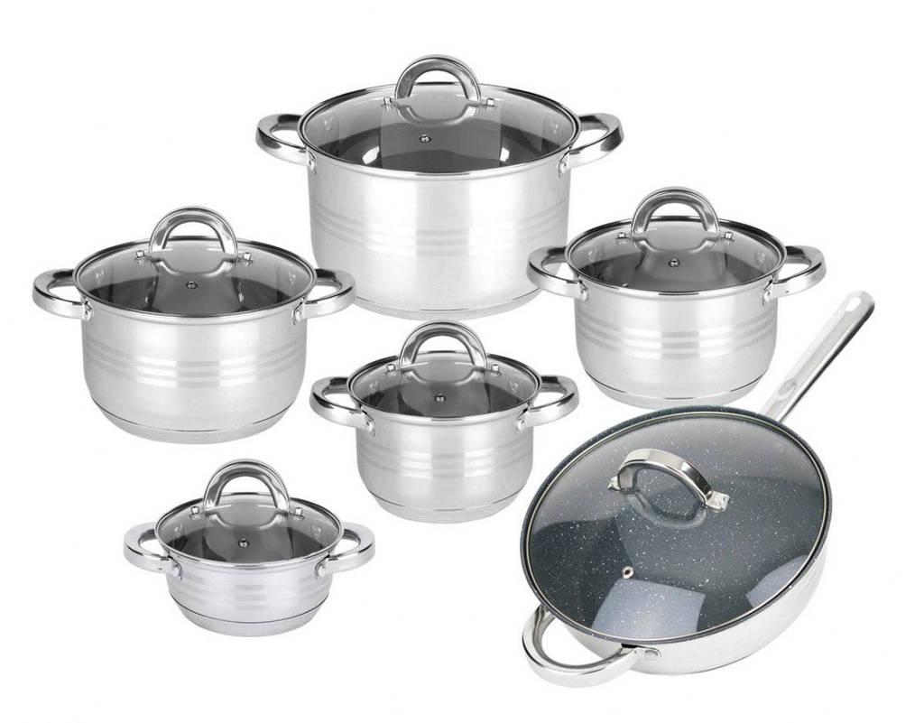 Копия Набор кухонной посуды Rönner 5 кастрюль с крышками + сковородка гранит с крышкой