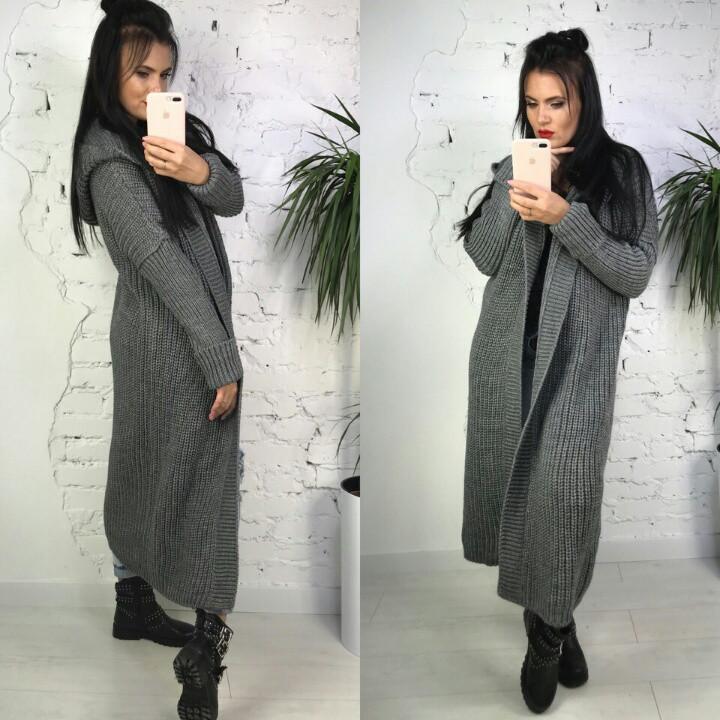 Женский вязанный кардиган-пальто с капюшоном(5 цветов)  продажа ... 011b057677548