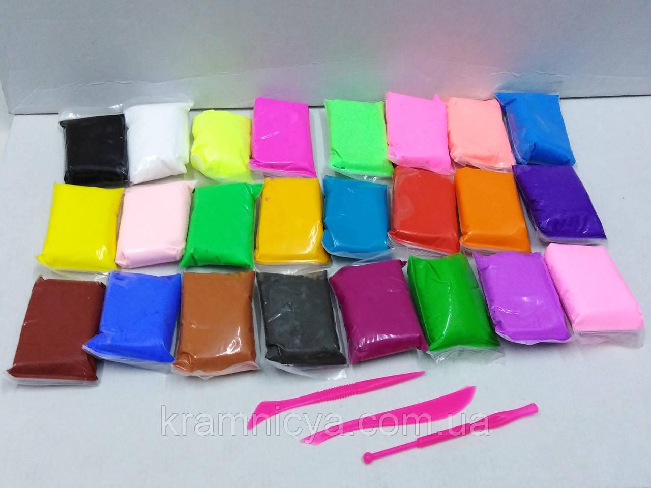 Масса для лепки 24 цвета + 3 стека