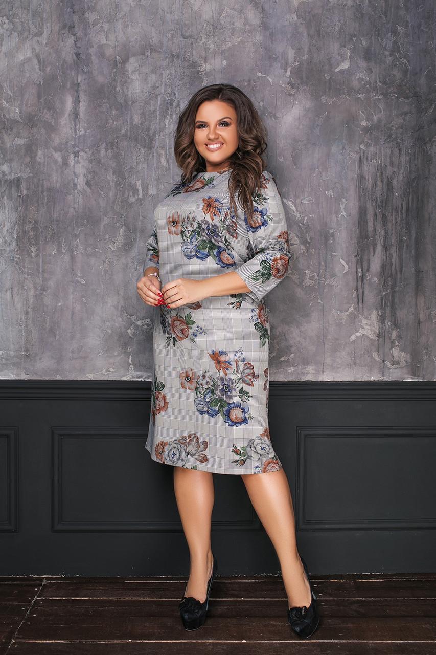 Стильное платье прямого силуэта с рукавами 3/4 с принтом клетка и цветы, батал большие размеры