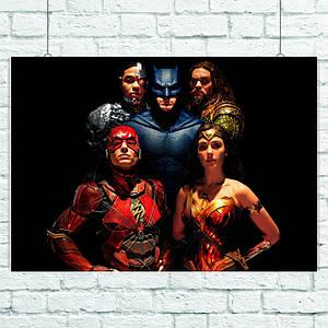 Постер Justice League, Лига Справедливости. Размер 60x42см (A2). Глянцевая бумага
