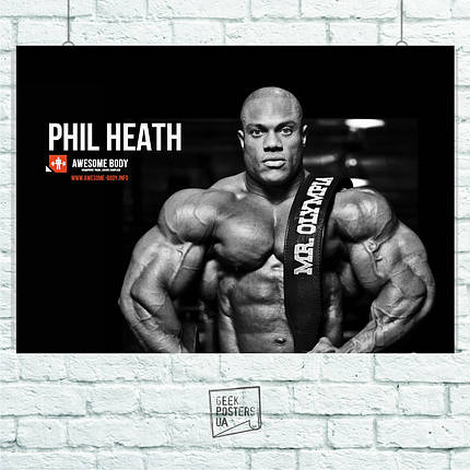 Постер Phil Heath, Бодибилдер. Размер 60x42см (A2). Глянцевая бумага, фото 2