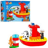 """Конструктор 1011(Аналог Lego Duplo) """"Пожарный катер"""" 19 деталей"""