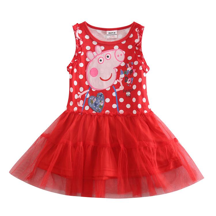 8618f7331b9 Детское летнее красное платье в белый горох Свинка Пеппа - Интернет-магазин