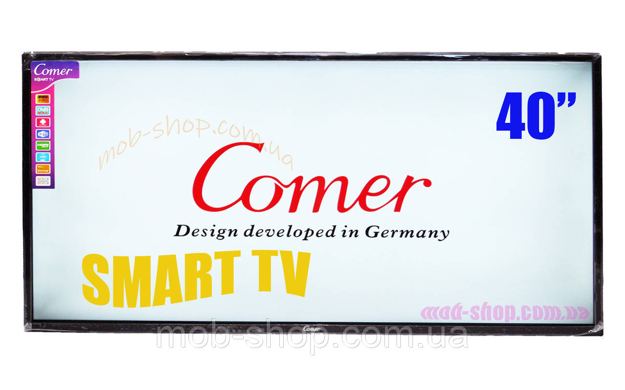 "LCD LED Телевизор Comer 40"" Smart TV+WiFi+T2, HDMI, Android 4.4"