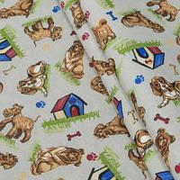 Декоративная ткань, собачки карамель