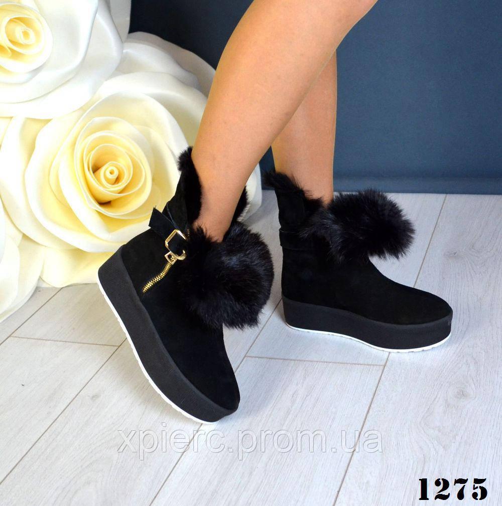 Новинка! Женские зимние ботиночки на платформе с опушкой натуральный кролик 97a190b18919c