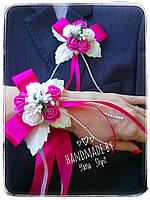 Бутоньерки ручная работа в малиновом цвете , фото 1