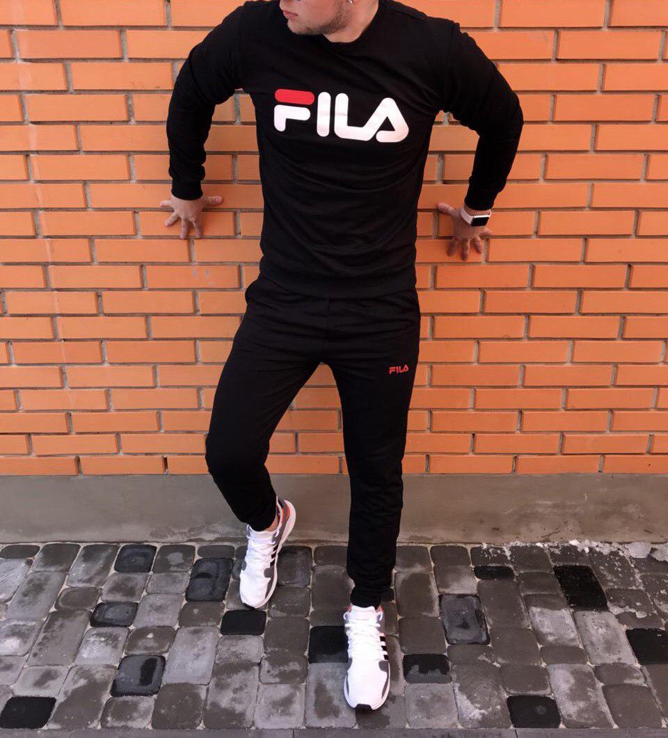 Осенний спортивный костюм Fila black топ реплика