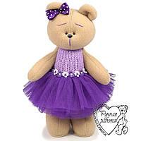 Мишко м'яка грушка, подарунок дівчинці, Ведмедик у фіолетовій пачці
