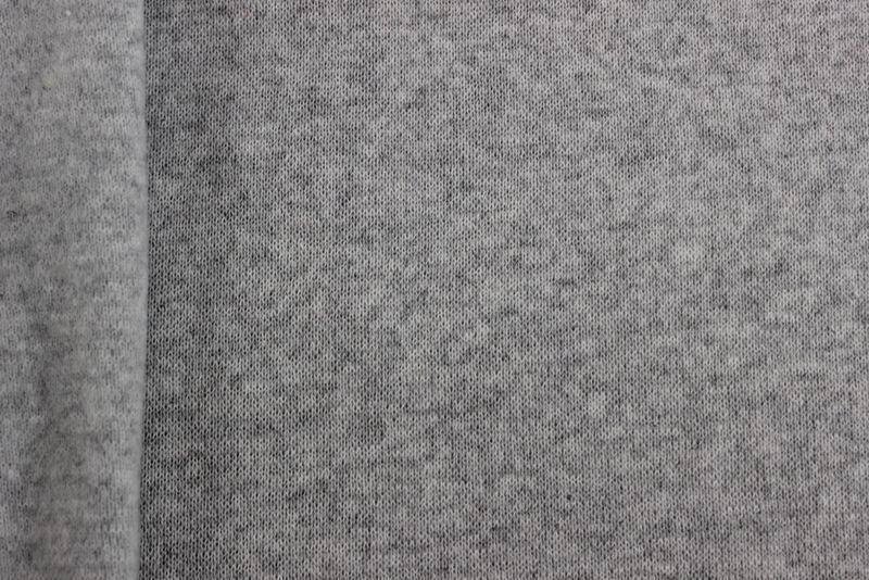 Ткань трикотажная Рибана с начесом, цвет - серый, купить оптом, ткань для термобелья