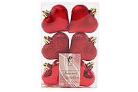 Набор елочных украшений Сердца 6см, цвет - красный, 6 шт: глянец, мат, глитер - по 2 шт 147-480