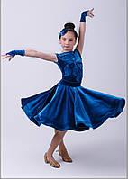 Велюровый бейсик, рейтинговое платье для спортивно-бальных танцев.