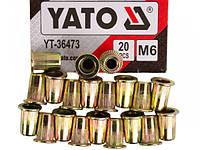 Заклепка резьбовая сталь М6х15мм YATO, 20шт.