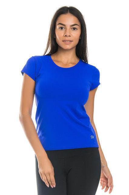 Спортивная футболка SW (размеры 42, 44, 46, 48, 50) женская футболка для спорта и фитнеса. Электрик.
