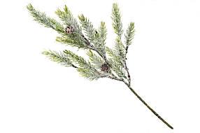 Ветка елки декоративная в инее, 38см, в упаковке 36 шт. 122-104