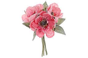 Декоративный букет из трех маков, 17 см, цвет - пурпурно-розовый, в упаковке 24 шт. 832-133