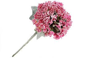 Декоративный искусственный цветок Гортензия, 27 см, цвет - светло-пурпурный, в упаковке 16 шт 832-135