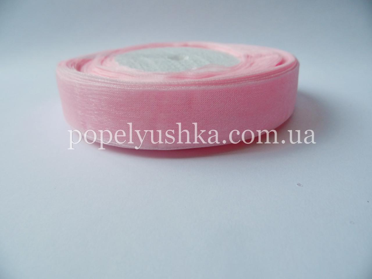 Стрічка органза 2 см блідо-рожева