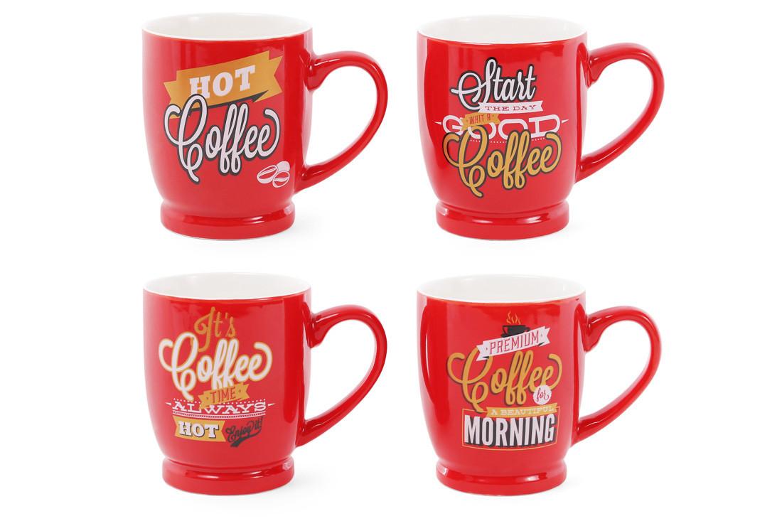 Кружка фарфоровая кофейная Coffee 260мл, 4 вида, в упаковке 12 шт. (588-144)