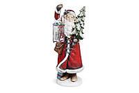 Новогодняя фигура Санта с елкой с LED-подсветкой и фонариком 80 см