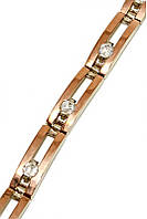 Серебряный женский браслет с золотыми вставками. Камни: циркон. Длинна регулируется.18-21 см.