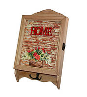 "Ключница деревянная ""Home""  (6 крючков), размер 31х18 см."