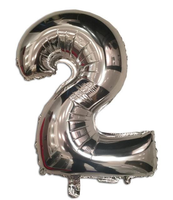 Шар цифра 2 фольгированный серебро 35 см