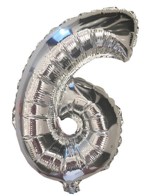 Шар цифра 6 фольгированный серебро 35 см