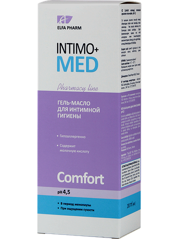 Гель-олія д/інт. гігієни Comfort pH 4.5 200мл  Intimo+med, фото 2