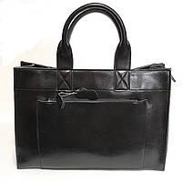 6a3572c08bfa Классическая черная кожаная сумка шоппер с длинными ручками, большая кожана  сумка