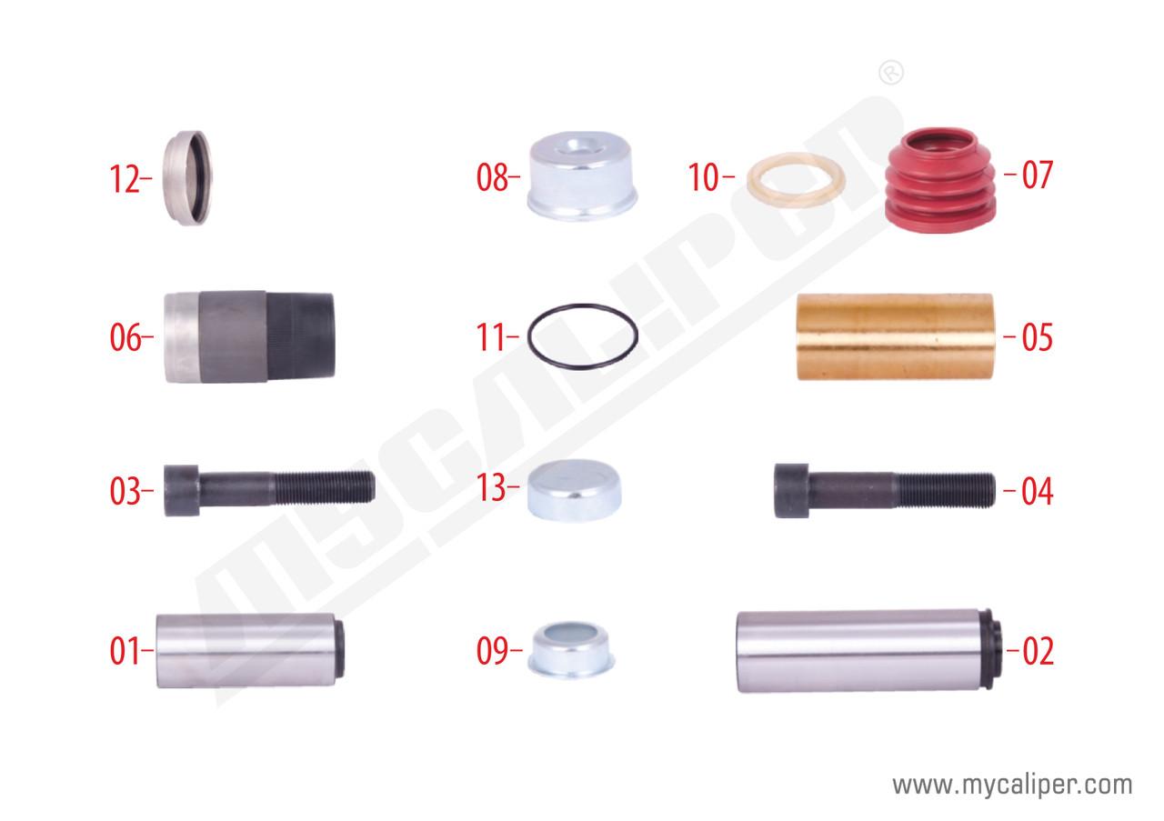 Ремкомплект направляющих суппорта KNORR SB6/7, м/р втулка длинная D39