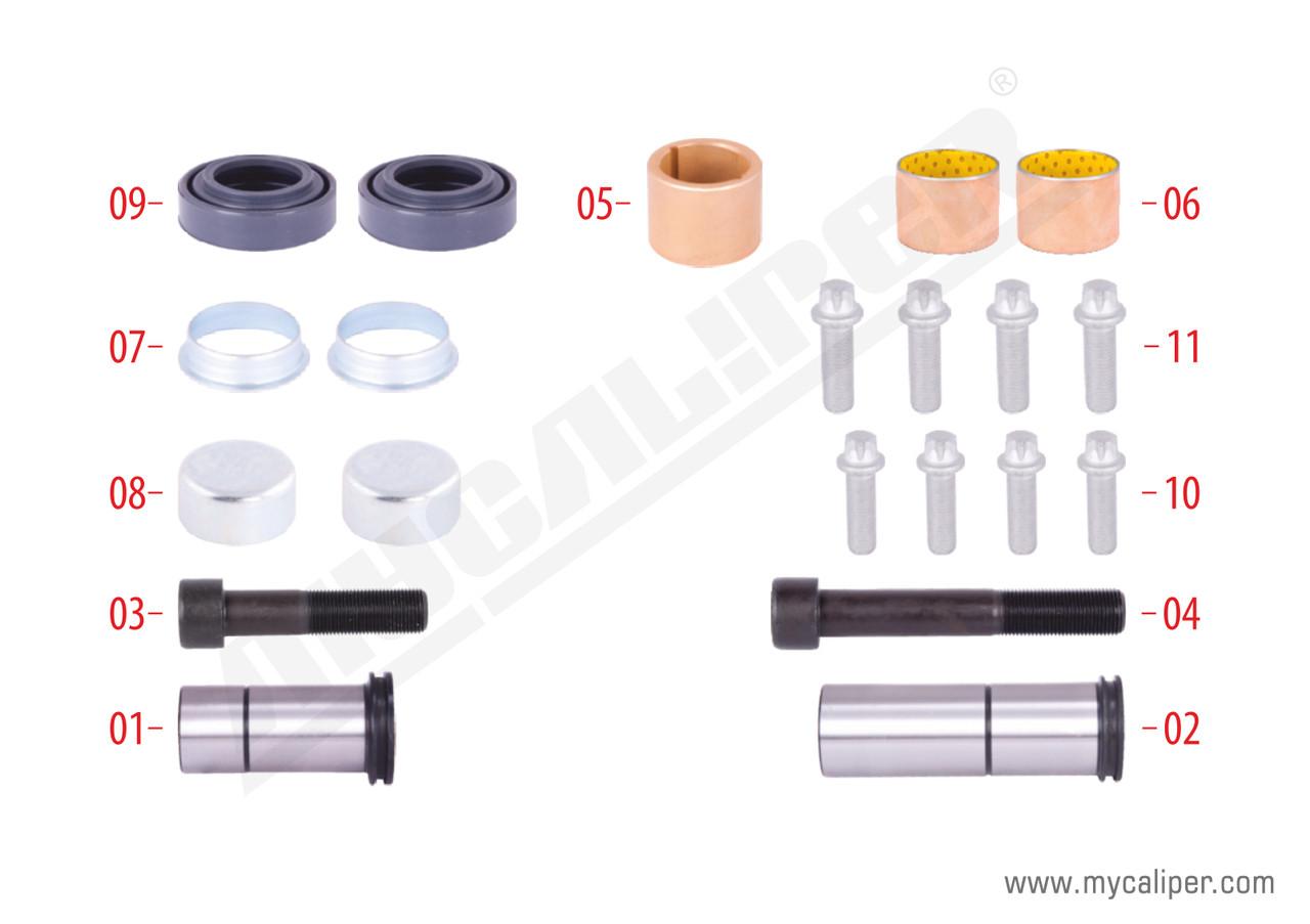 Ремкомплект суппорта (втулки+пыльники+направляющие) MERITOR ELSA 2/195/2