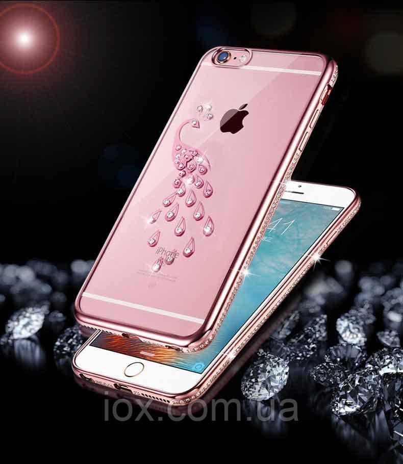 Чехол-накладка Павлин со стразами и розовым ободком для Apple Iphone 7 Plus / 8 Plus