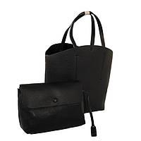 Классическая черная сумка-шоппер из экокожи