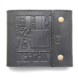 Черный кожаный кошелек со скрытым карманом на молнии
