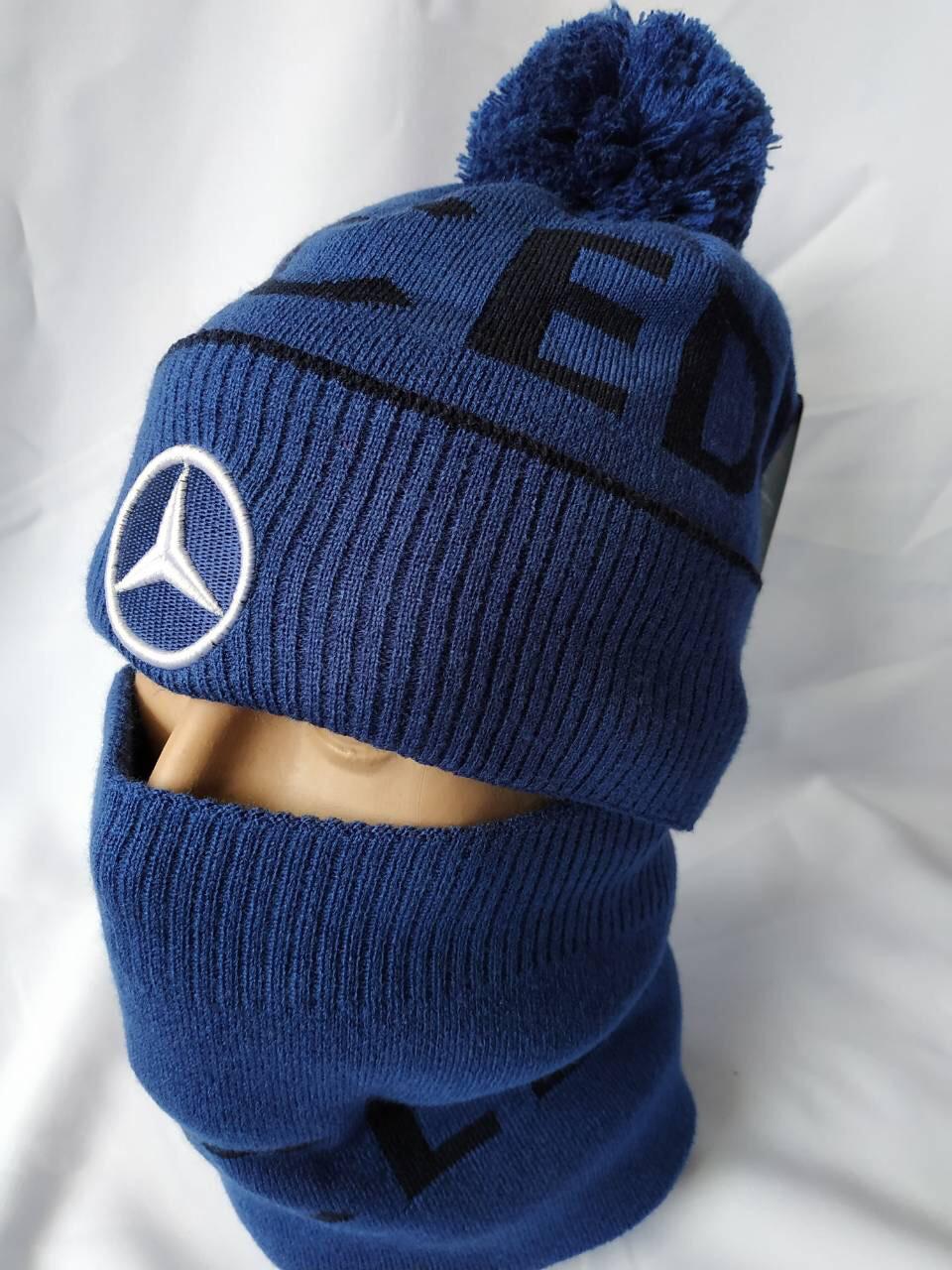 Стильная мужская шапка  с шарфом, фото 1