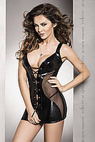 Сорочка приталенная со шнуровкой под латекс DONATA CHEMISE black L/XL - Passion Exclusive, трусики, фото 1