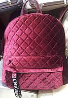 Женский бордовый велюровый рюкзак 28*35 см, фото 1