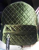 Женский зеленый велюровый рюкзак 28*35 см, фото 1