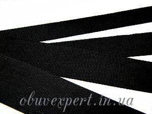 Ременная лента 25 мм Репсовое плетение, цв. черный, фото 2
