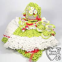 Вязаный набор для девочки 2-6 месяцев Клубничка, подарок на рождение, крещение