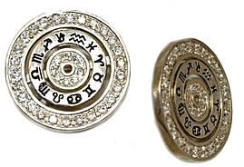 Серебряные серьги. Камни: белый циркон. Диаметр серьги: 2,5 см  Английская застёжка.