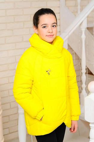 Детская демисезонная куртка на девочку подростка, желтая, р.134-164, фото 2