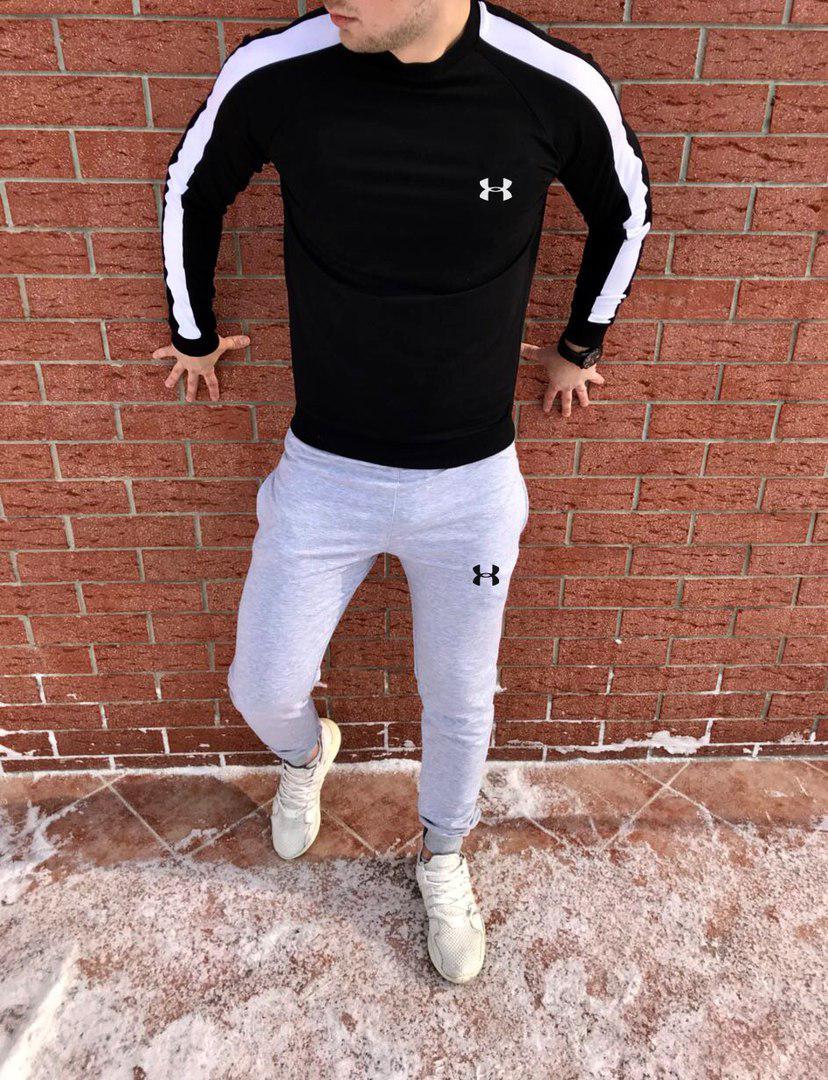 Осенний спортивный костюм Under Armor black/white/grey топ реплика