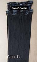 Набор накладных прядей на заколках-клипсах из 7-ми штук, наращивание волос, искусственные волосы, цвет №1