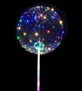 """Светодиодный шар бобо bobo 19"""", Воздушный светящийся на палочке с гирляндой в комплекте"""