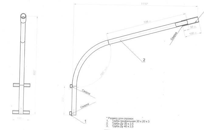 ККС-3 - кронштейн для светильника уличного освещения на опорах и стенах, фото 2